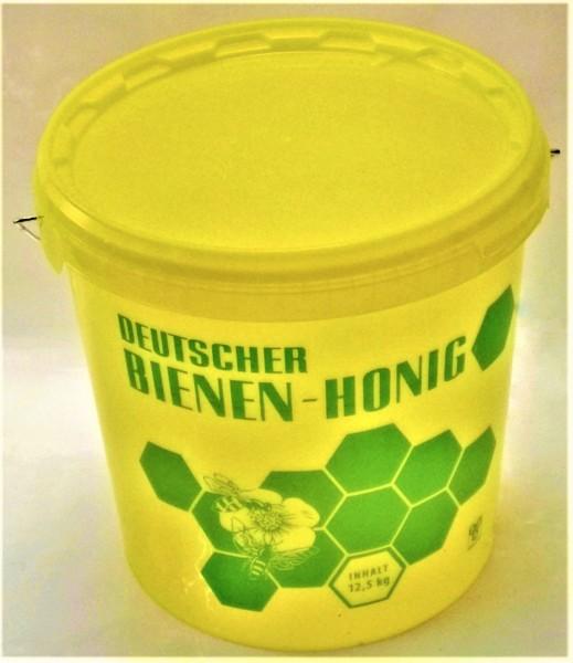 Gelber Eimer für 12,5 kg Honig mit Aufdruck