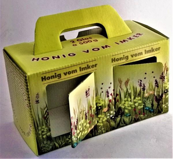 Geschenkkarton für zwei Gläser Honig a' 500 g