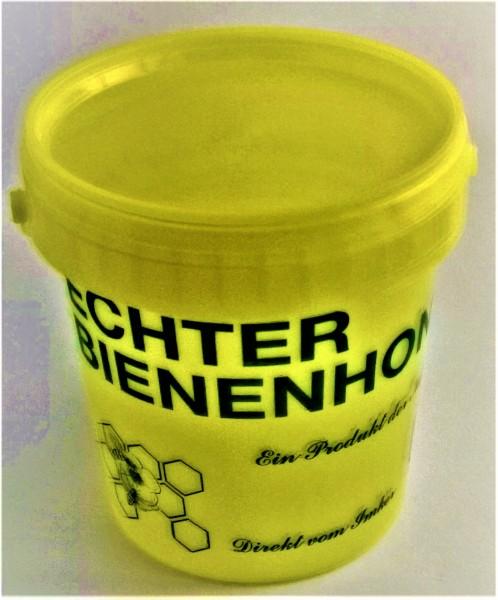Gelber Eimer für 1 kg Honig mit Aufdruck