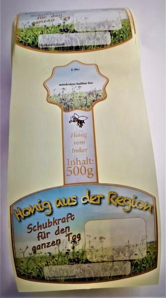 Rollenetikett Blüte für das 500g Honigglas