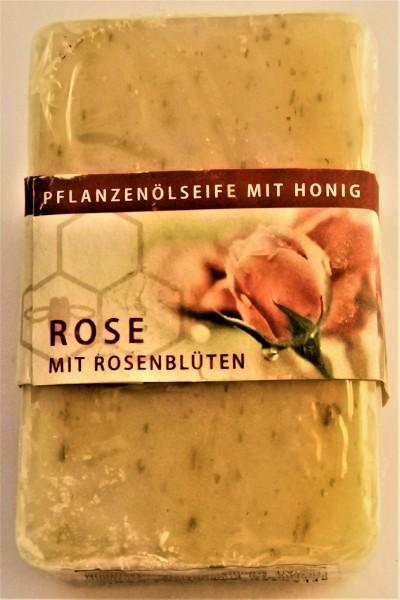 Honigseife mit echten Rosenblüten