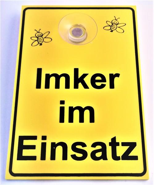 """Schild mit Saugnapf """"Imker im Einsatz"""""""
